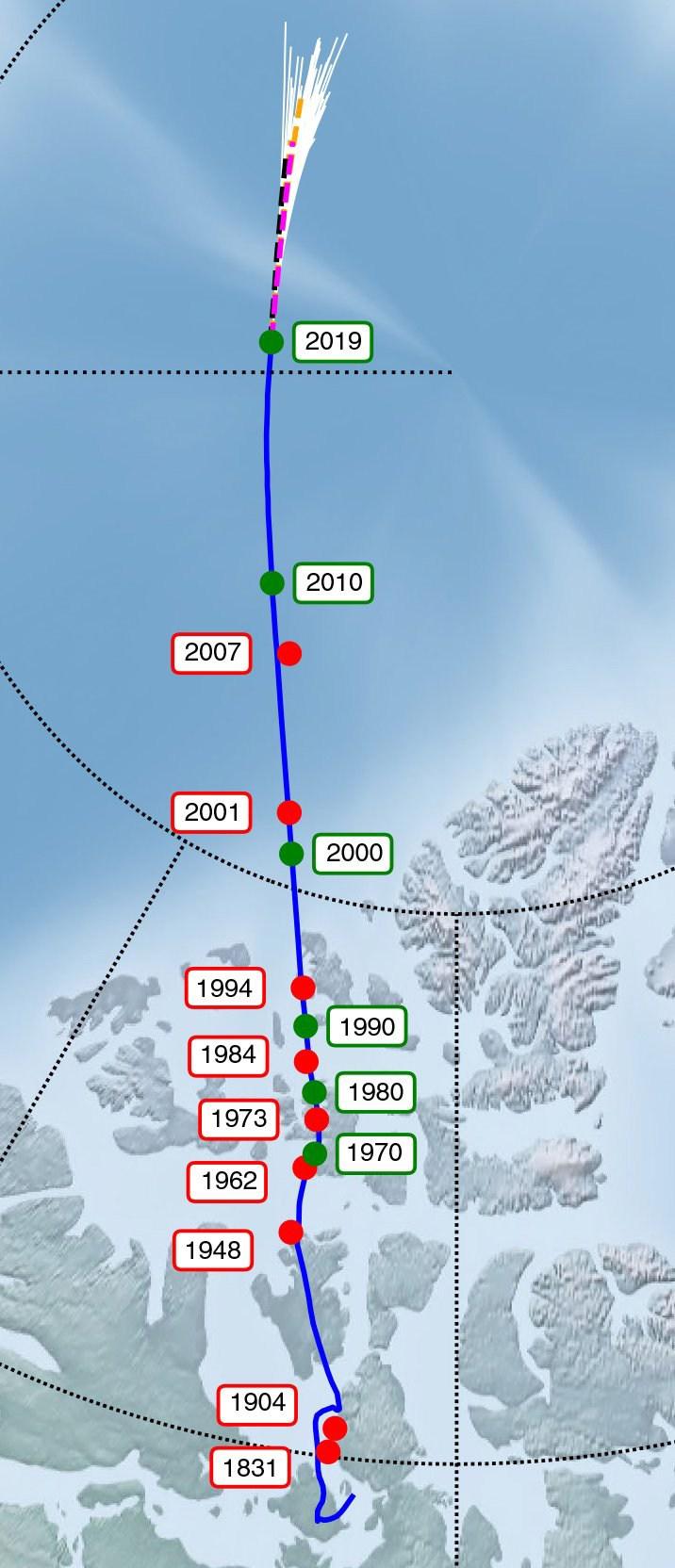 Rastreamento do movimento do pólo norte magnético em direção à Sibéria (Livermore et al., Nature Geoscience , 2020)